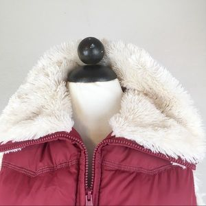 Big Chill Puffer Vest In Cranberry w/ Faux Fur